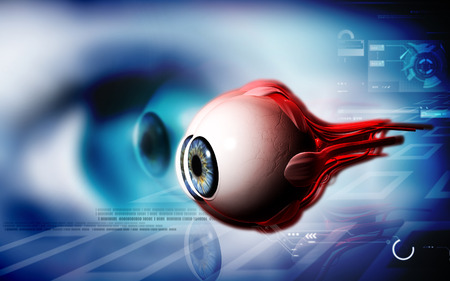 three dimensional background: Digital illustration of  eye   in  colour  background