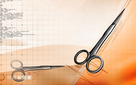 dissection: Digital illustration of surgical scissors in colour background Stock Photo