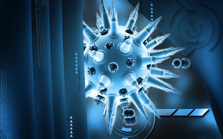 flu virus: Digital illustration of  Flu virus in colour  background