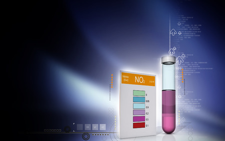 computer scientist: Digital illustration of nitrite test in colour background