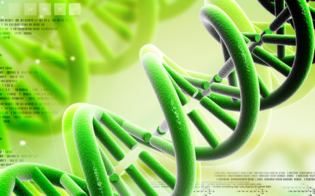gene on a chromosome: Digital illustration DNA structure  in colour background