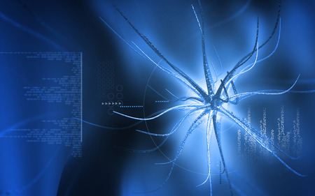 dendrites: Digital illustration of  neuron  in colour  background Stock Photo