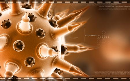 bird flu: Digital illustration of  Flu virus in colour  background