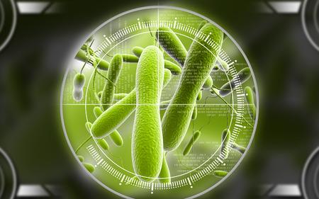 Digital illustration of cholera bacteria in   colour background