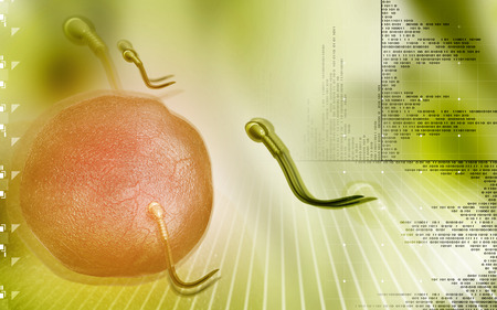 sexual reproduction: Digital illustration of  sperm  in colour  background
