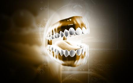 Digital illustration of  Teeth set in colour  background