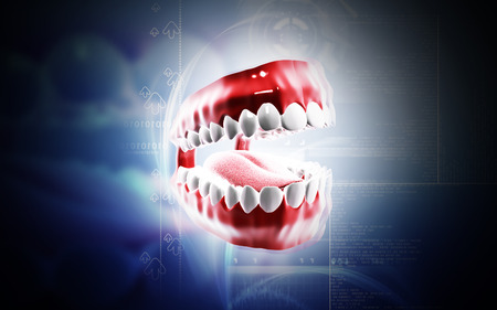 incisor: Digital illustration of  Teeth set in colour  background