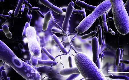 epithelium: Digital illustration of cholera bacteria in   colour background