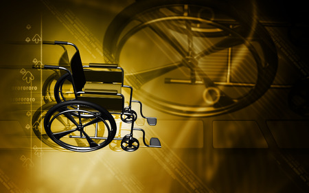 aide: Digital Illustration of  wheel chair  in colour background Stock Photo