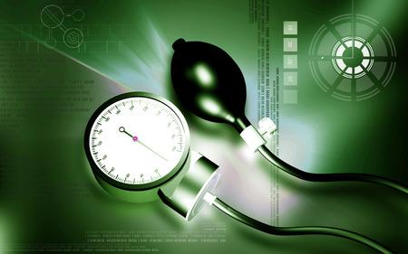 sphygmomanometer: Digital illustration of sphygmomanometer in colour background Stock Photo