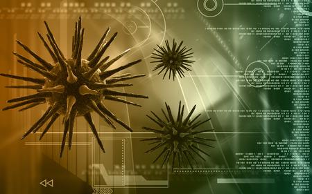 rn3d: Digital illustration of  Virus  in colour  background