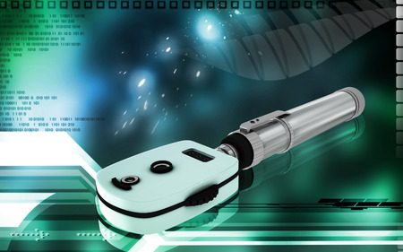 optometrist: Digital illustration of ophthalmoscope in colour background Stock Photo