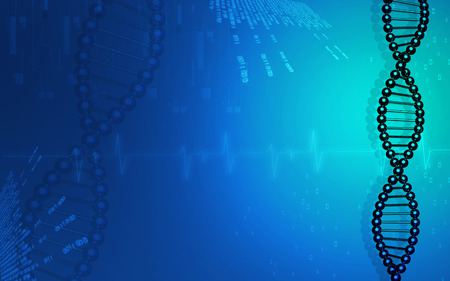 medical abstract: Digital illustration DNA structure in colour background
