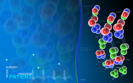 hospital background: Digital illustration DNA structure in colour background