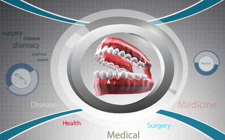 Digital illustration of  Mouth in colour background