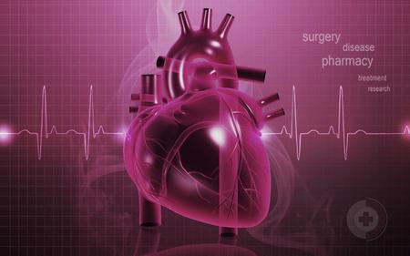 digital illustration: Digital illustration of  heart  in  colour  background