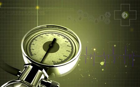 background check: Digital illustration of sphygmomanometer in colour background Stock Photo