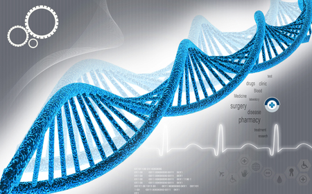 medical illustration: Digital illustration DNA structure in colour background