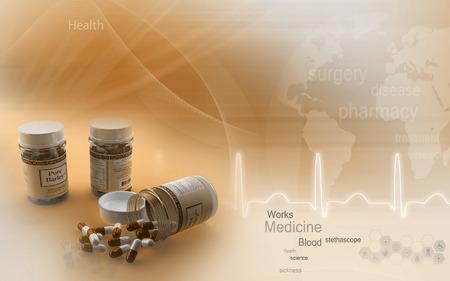 dose: Digital illustration of capsule bottles in colour background