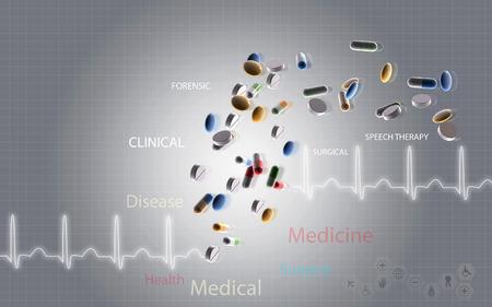 hospital background: Digital illustration of capsule in colour background