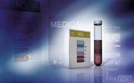 computer scientist: Digital illustration of nitrite test in colour background