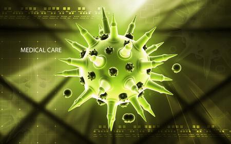 hospital germ: Digital illustration of  Flu virus in colour  background