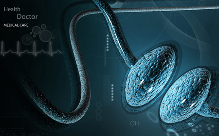 axon: Digital illustration of synapse in color background Stock Photo