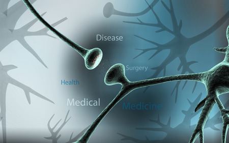 Digital illustration of synapse in colour background Stock Photo