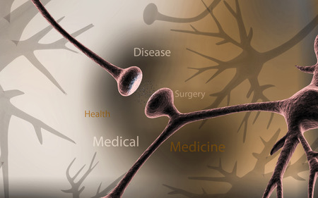 dendrites: Digital illustration of synapse in colour background Stock Photo