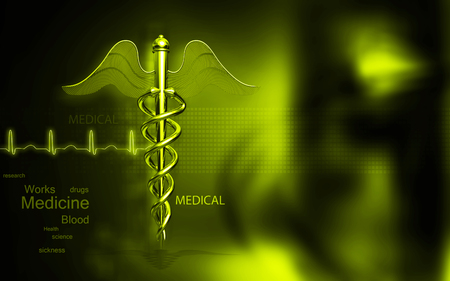 symbol yellow: Digital illustration of Medical symbol in  colour background Stock Photo