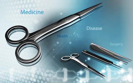 hospital background: Digital illustration of Scissors in colour background