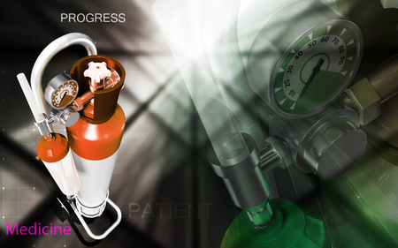 compressed gas: Digital illustration of oxygen cylinder in colour background