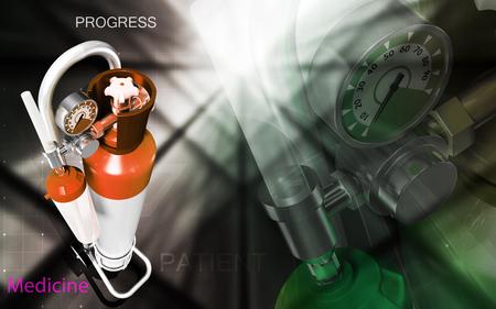 compressed gas: Digital illustration of oxygen cylinder in colour background