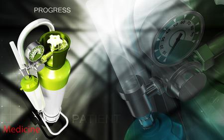 compressed gas cylinder: Digital illustration of oxygen cylinder in colour background