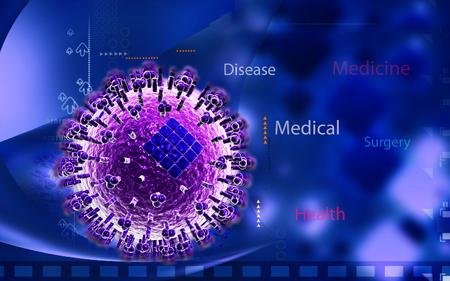 avian: Digital illustration of  avian virus in colour  background Stock Photo