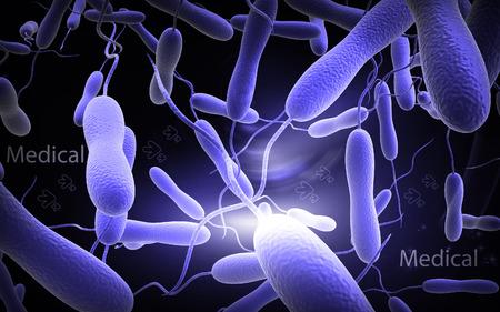 bacterias: Ilustración digital de la bacteria del cólera en color de fondo