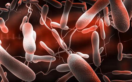 colera: Ilustración digital de la bacteria del cólera en color de fondo
