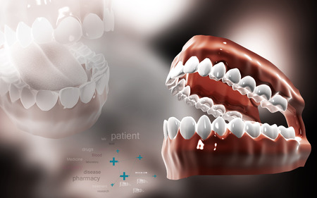 opened mouth: Digital illustration of  Mouth in colour background