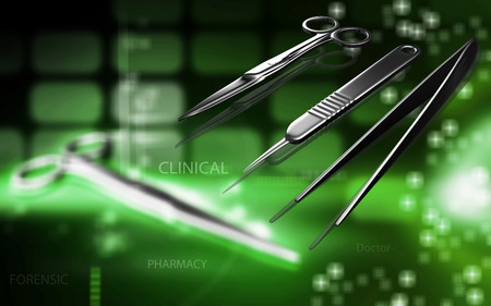surgical glove: Digital illustration Surgical instruments in colour background Stock Photo