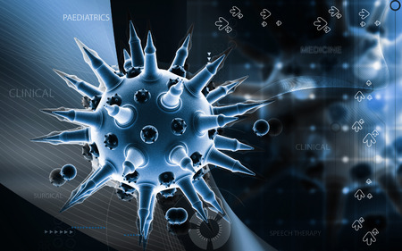 h1n1: Digital illustration of  Flu virus in colour  background