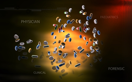 Digital illustration of capsule in colour background