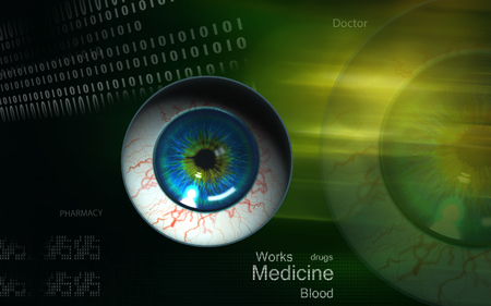 vitreous: Digital illustration of  eye   in  colour  background