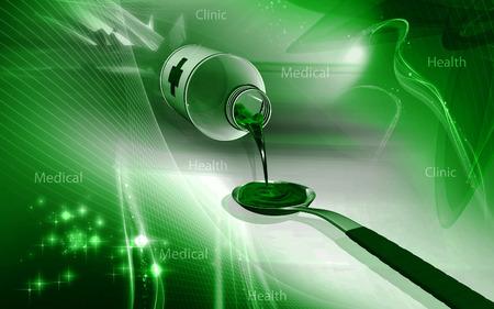Digital illustration of  medicine with spoon in colour  background Banco de Imagens