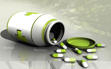 Digital illustration of capsule bottle in colour background