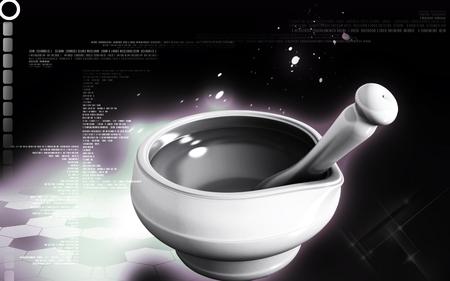 Digital illustration of ayurvedic medicine mixing bowel in colour background