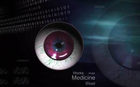 vitreous: Digital illustration of  eye   in  colour  background
