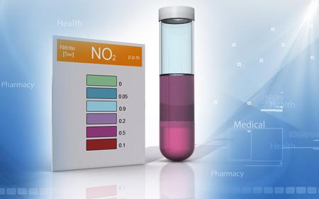 Digital illustration of nitrite test in colour background