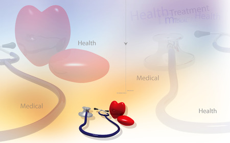Digital illustration  of stethoscope and heart in colour background Banco de Imagens - 53745853