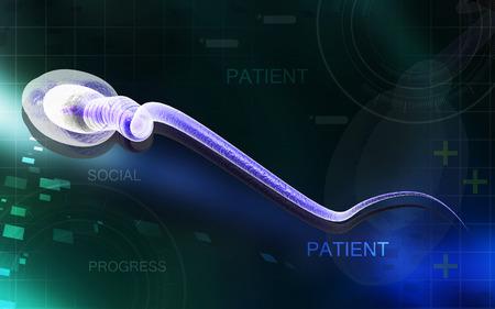 Digital illustration of  sperm  in colour  background