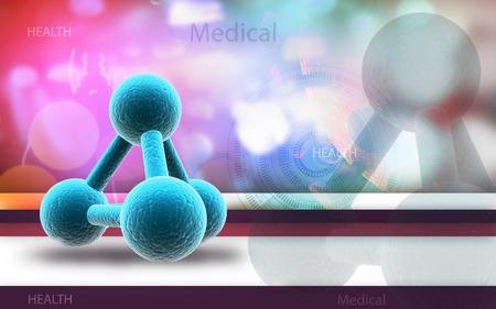 Digital illustration of molecules in colour background Banco de Imagens